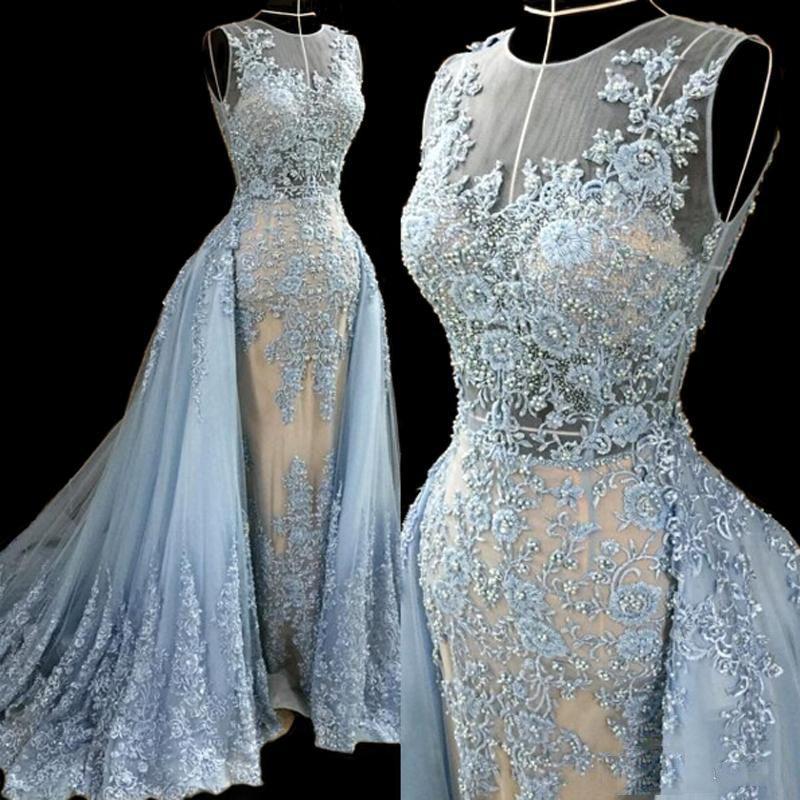 2016 Bleu Ciel Robes De Soirée avec Survêtement Tulle Dentelle Applique Perles Formelles Femmes Robes Robes De Soirée