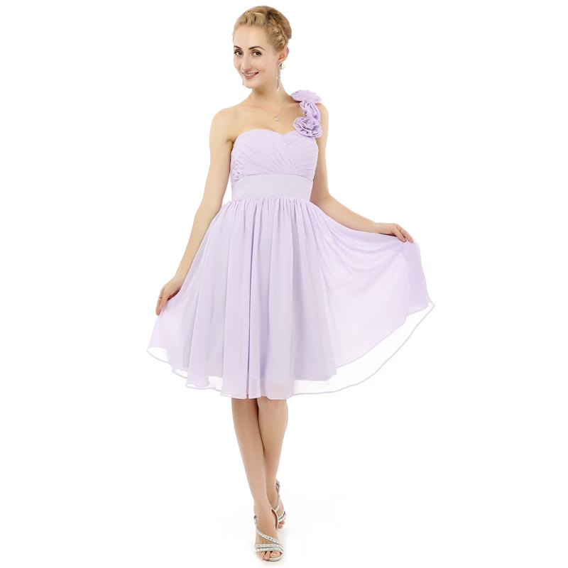 95c0e7fdacd64 New Arrival One Shoulder Pretty Bridesmaid Dress Short Length Chiffon Girls  2018 Style Free Shipping Dress