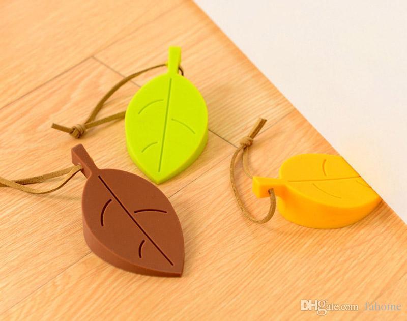 Silikon Türstopper Keil Fingerschutz - Cute Cartoon Blatt Stil Flexible Silikon Fenster / Türstopper mit Lanyard für Hausgarten
