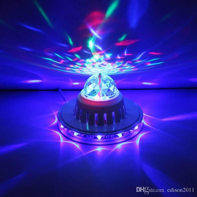 Edison2011 새로운 세련 된 뜨거운 판매 풀 컬러 LED 해바라기 48 Led 전구 램프 자동 회전 MP3 크리스탈 무대 조명