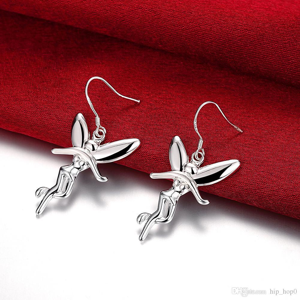 Humanoid Engel Flügel Silber Ohrringe Mode 925 Sterling Silber Überzogene Schmuck Trendy Frauen Baumeln Ohrringe Beste Weihnachtsgeschenke für Mädchen