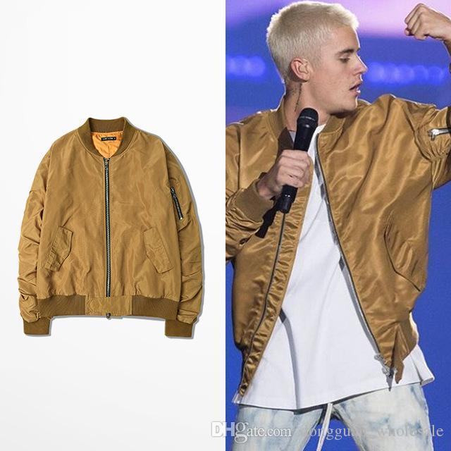 Justin Bieber Gold Ma 1 Bomber Jacket Purpose Tour Baseball Coats ...