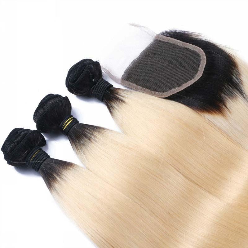 1B/613 Ombre бразильский прямые волосы с закрытием 4 шт./лот, два тона цветные Ombre 3 пучки с 1 шт. прямые кружева закрытия