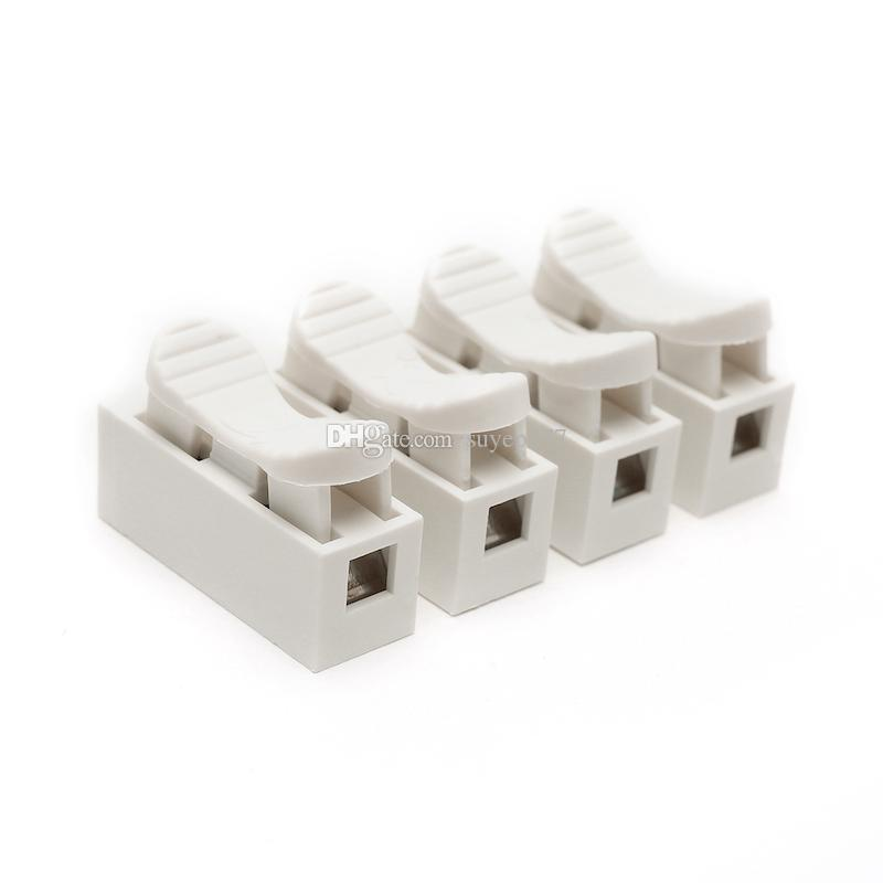 Self Locking Electrical Cable Connector CH-4 Spring Wire Connectors Electrical Cable Clamp Terminal Block white 4 Pins
