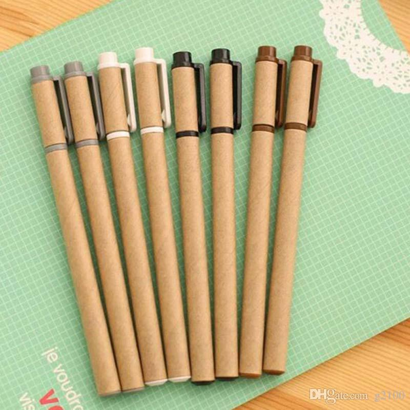 New Kraft Paper Pen Environmental Friendly Recycled Paper Ball Point Pen Gel Pens Writing Supplies Papelaria