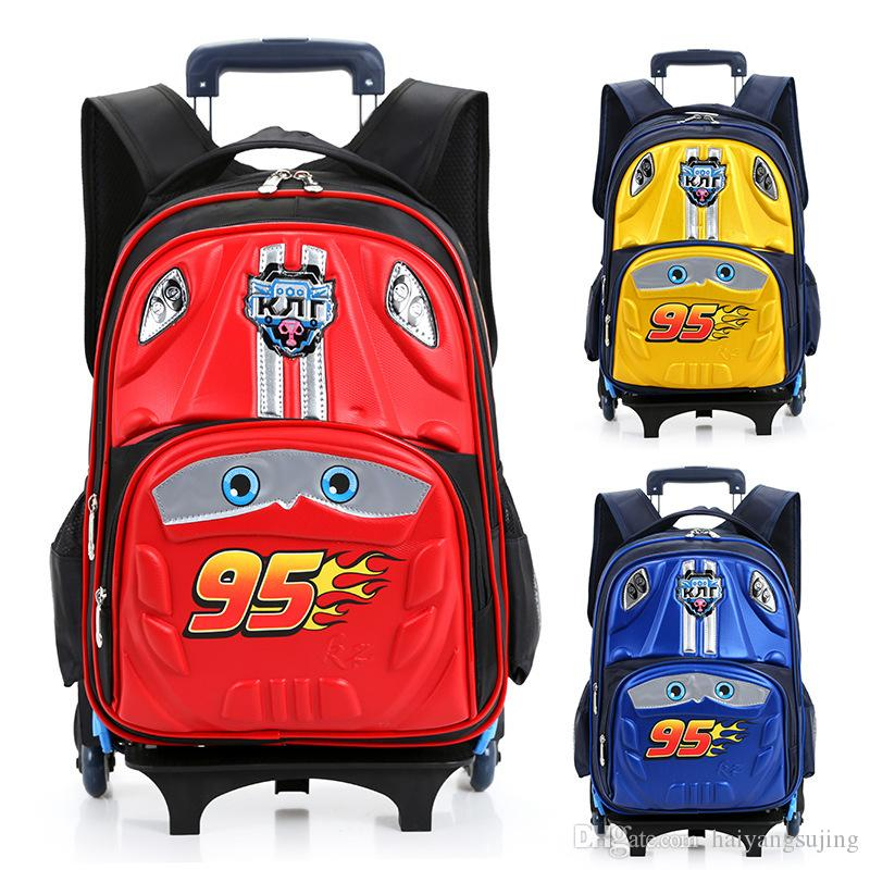 Kids Trolley School Bags Boys Children Backpack 6 Wheels Rolling ...