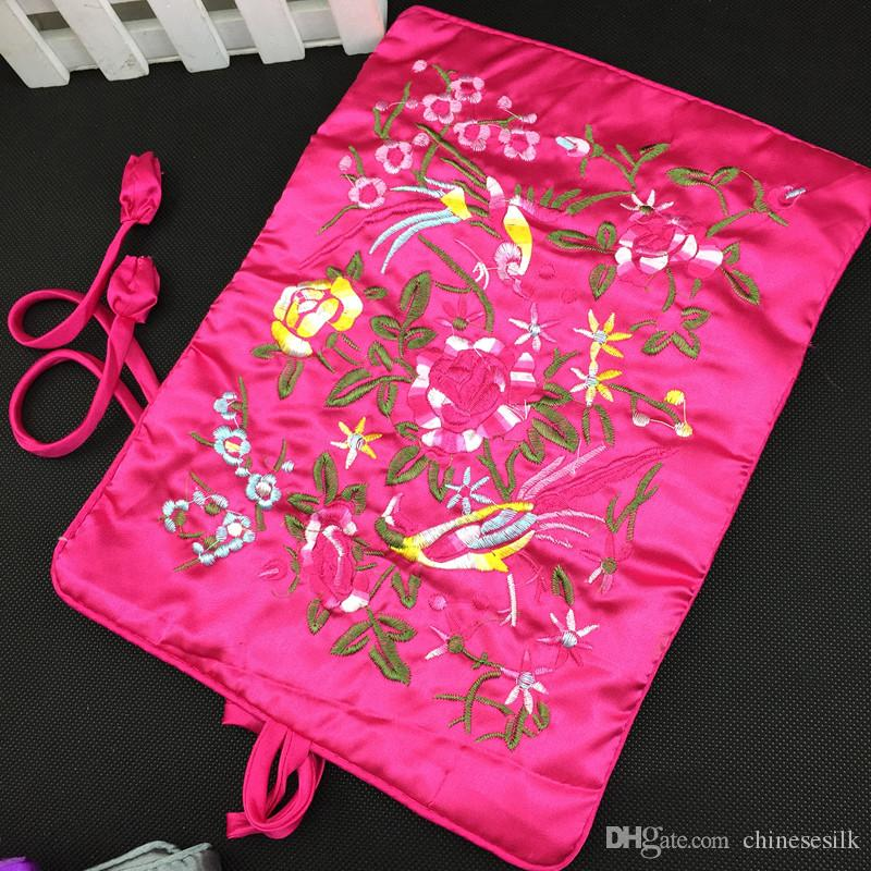 Embroidered flower bird Silk Jewelry Travel Bag Roll n go Cosmetic Bag for Makeup Drawstring Bag Foldable Storage Pouch
