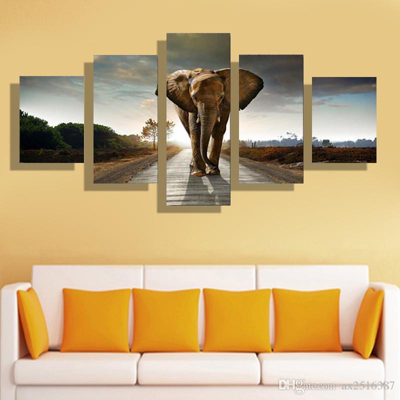 5p hogar moderno HD imagen pintura al óleo lienzo impresión arte pared sala de estar habitación de los niños estudio decoración tema - África