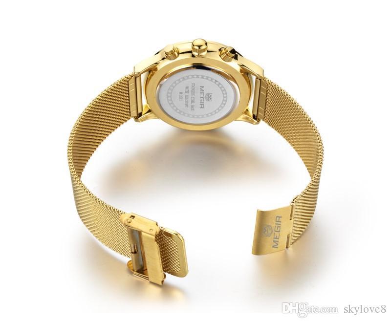 2011 MEGIR luxe Sport Watch Top Marque Hommes 30M Montres Imperméables Lumineux Calendrier multi-fonction Montre-Bracelet À Quartz