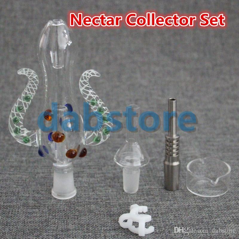 QUARTZ BANGER Nectar Collector kit honey straw Glass pipe water pipes 2.0 NECTAR COLLECTOR HONEY STRAW KIT OIL DABBER GR2 TITANIUM NAIL