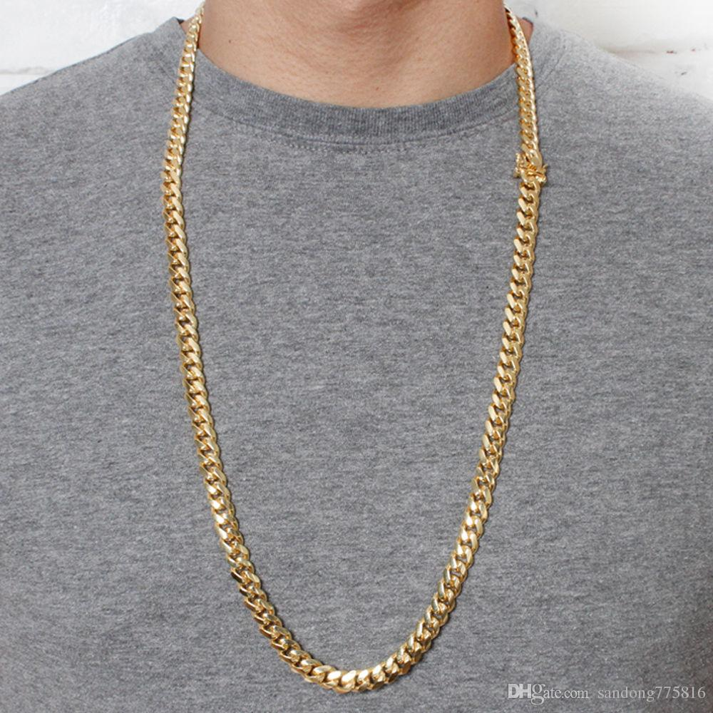 Miami Cuban Link Curb Chain Solid 8mm 30inch 9inch Gold Chain .925 Silver  UK 2019 From Sandong775816 038c7bbc1e2b