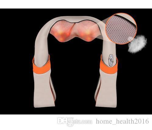2016 Nova Forma de U Elétrica Shiatsu Pescoço Ombro Massager corpo massageador infravermelho 3D amassar massager plugue DA UE ficha plana Frete Grátis