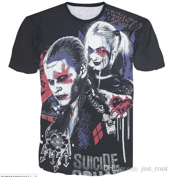 437e0d5f13eb 2016 3D Suicide Squad Graphic men t shirts Crew neck tees polos Suicide  Squad KillerInspired The Joker Mens Top Men's T-Shirt