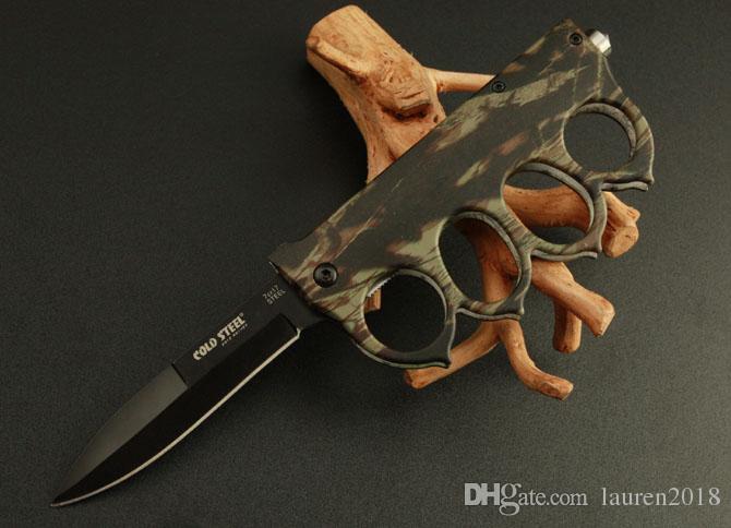 Acier froid à chaud 219 220 Knuckle Duster Couteau de poche Blade pliante 7Cr17MOV Lame Poignée en aluminium de chasse Couteaux de camping tactique 221