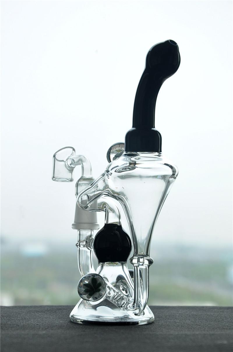 Стеклянный Бонг со стеклянным фейерверком черный двойной рециркуляции барботер водопровод нефтяные вышки кальян 14 мм мужской сустав