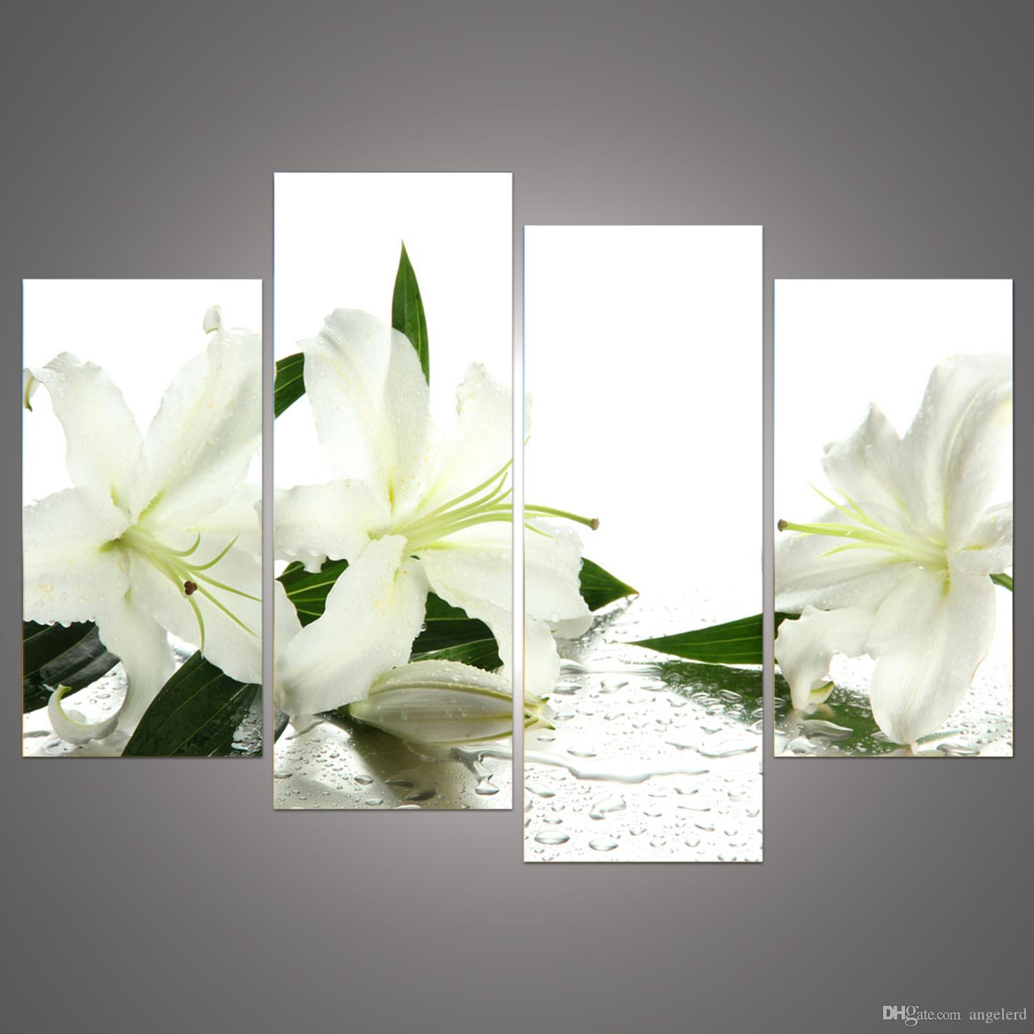 Online cheap 4 panels white flowers painting canvas wall art picture online cheap 4 panels white flowers painting canvas wall art picture home decoration living room canvas print modern painting h055 by angelerd dhgate mightylinksfo