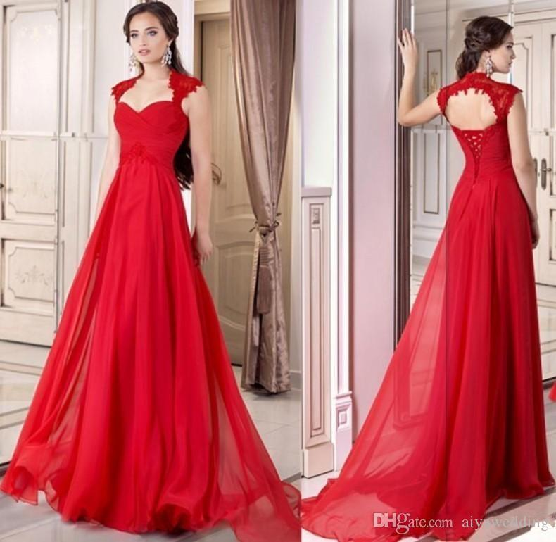 6c40ce71d5e1b 2019 Formal Red Evening Gowns Corset Chiffon Full Length Lace Up A Line  Prom Dresses Cap Sleeves Occasion Party Gowns Free Ship Custom Made Womens  Evening ...