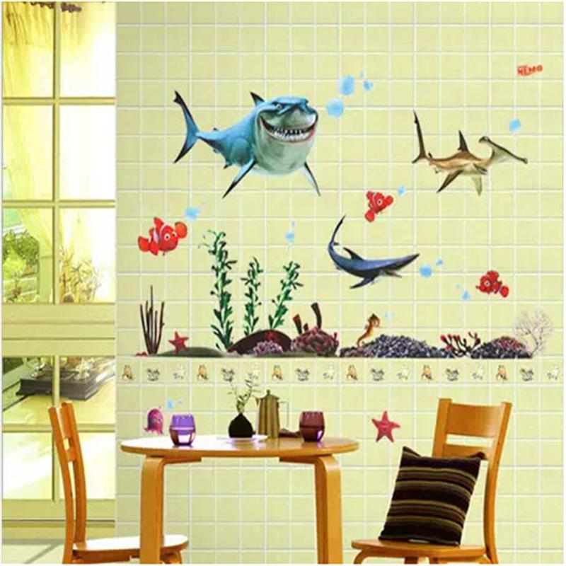 Cartoon Sea Animals Wall Sticker For Kids Rooms Living Room Home ...