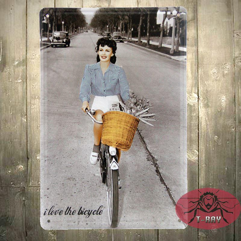 i love riding bike metal poster craft painting bar cafe decoration