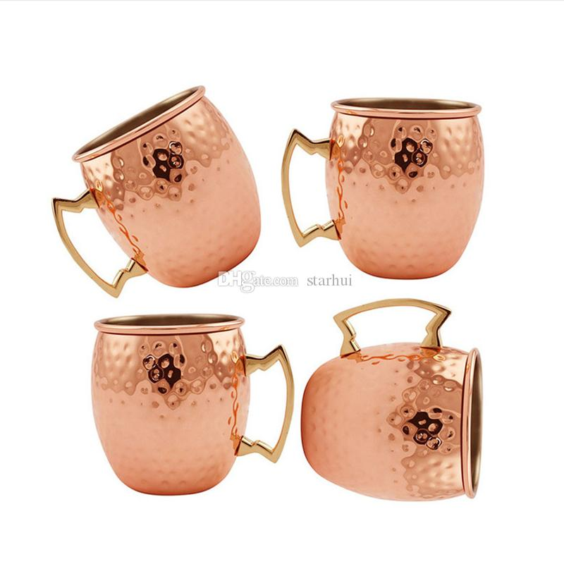 Hammered Moscow Mule Cups Kupfer Teller Edelstahl Becher Messing Griff Hammered Moscow Mule Becher mit massivem Messing Griff WX-C52