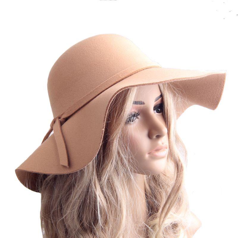 England style Retro Ladies Women outdoor sun hat Wool Felt Fedora Floppy Cloche Wide Brim hat bowknot Cap B942