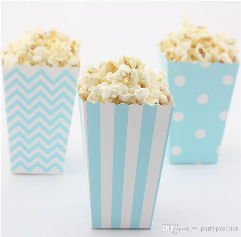 !!!Eco-friendly mix striped/polk dot/chevron baby Blue paper popcorn box for wedding/baby shower