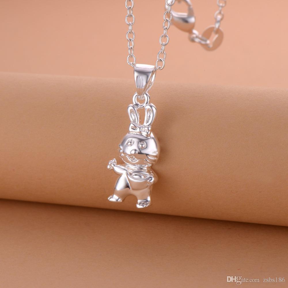 925 серебряный кролик ожерелье зодиака ювелирные изделия милый подарок на день рождения высокое качество бесплатная доставка горячая