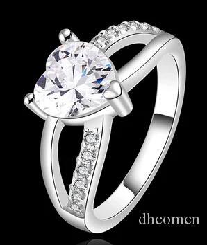 Anello da donna con zirconi cubici a forma di cuore Anello da donna con ciondolo in argento placcato color oro gioielli di alta qualità nuovo