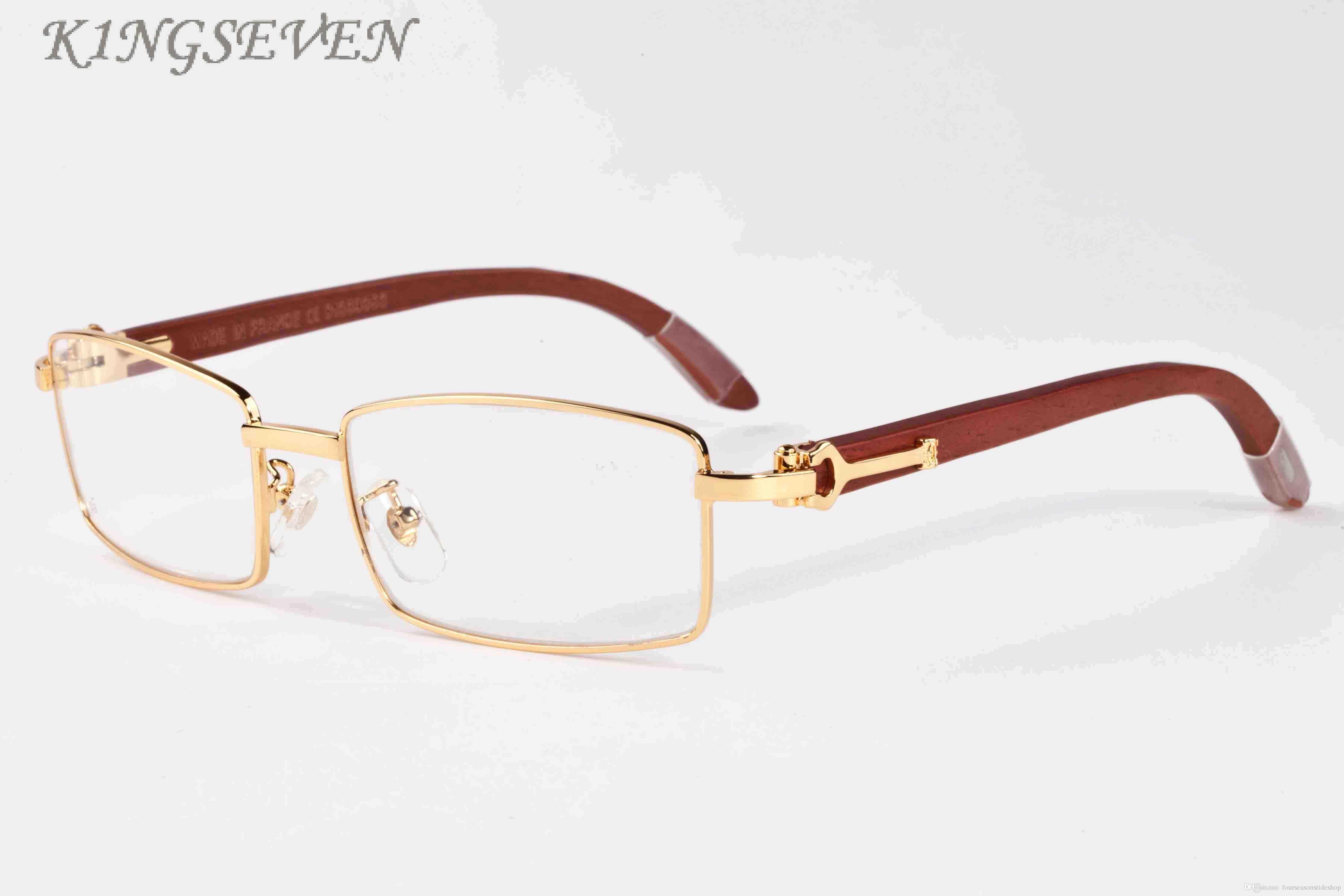 여자 패션 남성 선글라스 대나무 나무 2020 고품질 물소 뿔 안경은 명확 풀 프레임 골드 실버 금속 프레임 선글라스