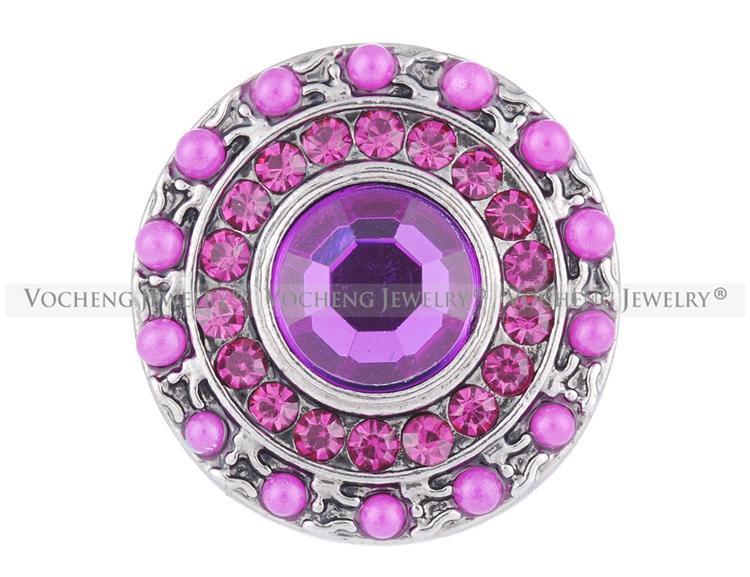 NOOSA Bouton pression gingembre 3 couleurs perle strass 18mm Glam bijoux interchangeables VOCHENG Vn-1084