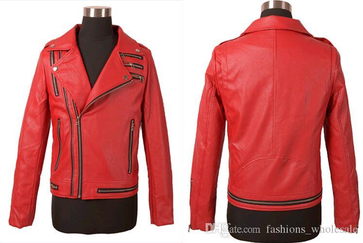 الأزياء المتناثرة القوطية الموضة للدراجات النارية صالح سليم الرجال سترة جلدية الشرير الصخرة السائق الأحمر الرجال جاكيتات جلدية و معاطف الأسود