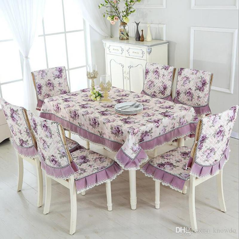 dining room chair slipcovers floral design | Pastoral Beautiful Rose Design Table Cloth Set Chair Cover ...