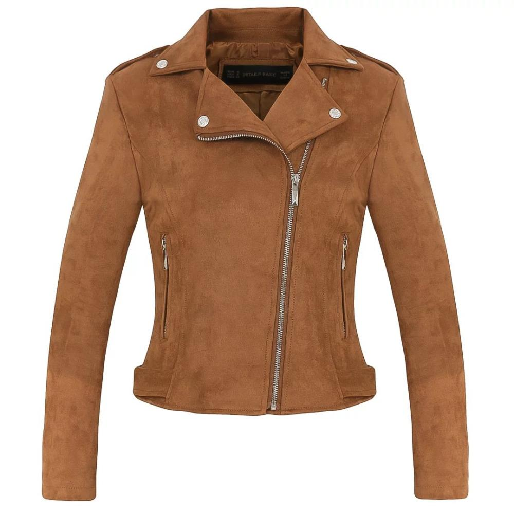 Online Cheap New Fashion Women Suede Motorcycle Jacket Slim Brown Full  Lined Soft Faux Leather Female Coat Veste Femme Cuir Epaulet Zipper By  Nicolan ... 38a5c6575641