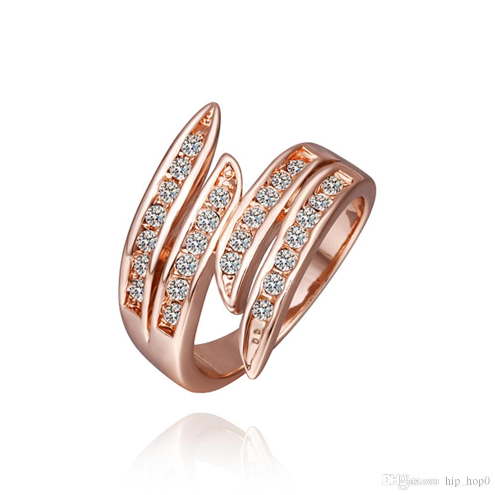 Newest Angel's Wing Engagement Rings with 18K Rose Gold Plating Crystals Fashion Jewelry free Antiallergic Bohemia Statement Rings for Lady