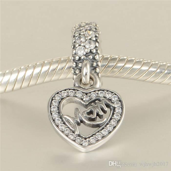 Dangle Clear Crystal Heart Mum Charm Beads Fits European Bracelets 925 Sterling Silver Mom Heart Beads Diy Mother's Day Fine Jewelry HB578
