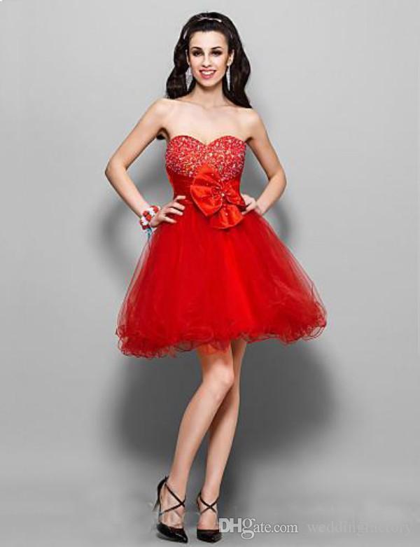 Sexy hot red perlen kristalle schatz reich tüll kleine cocktail mädchen kurze party kleider trägerlosen homecoming kleider seitlichem reißverschluss