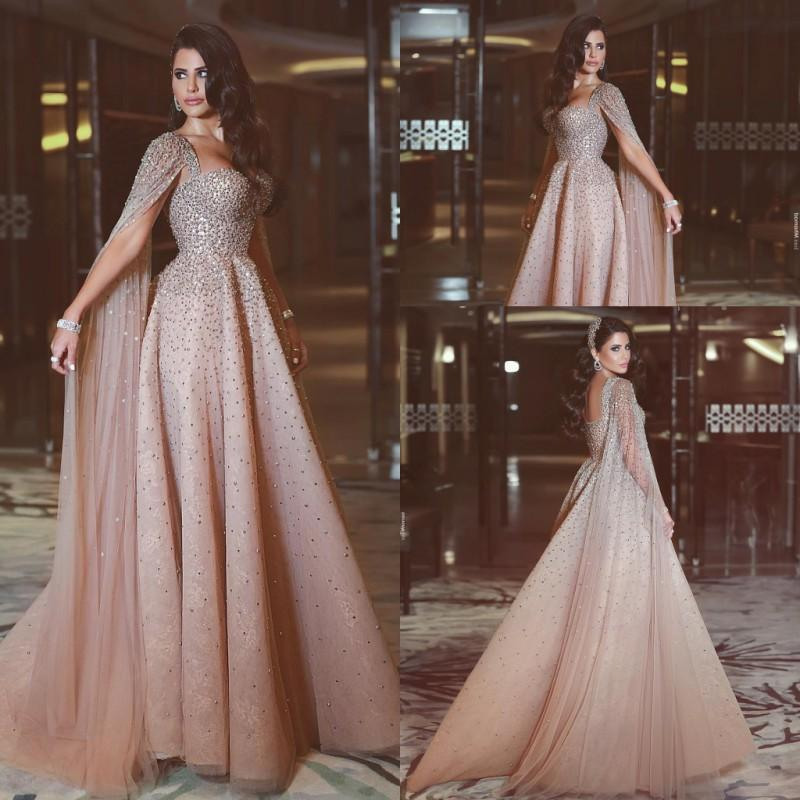 a5385b0f1f Saudi Arabic Heavy Beading Evening Gowns 2018 Shinning Prom Dresses With  Watteau Floor Length Tulle Sweep Train Women Formal Party Vestidos Prom Prom  ...