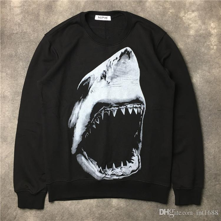 2017 Autumn winter brand men Hoodies Casual sports Long sleeve sweatshirt men shark tooth printing pullover coat jacket