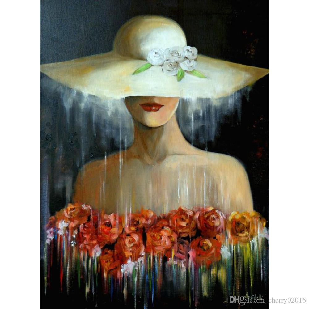Modern abstract paintings woman in hat with flowers oil for Quadri moderni fiori dipinti a mano