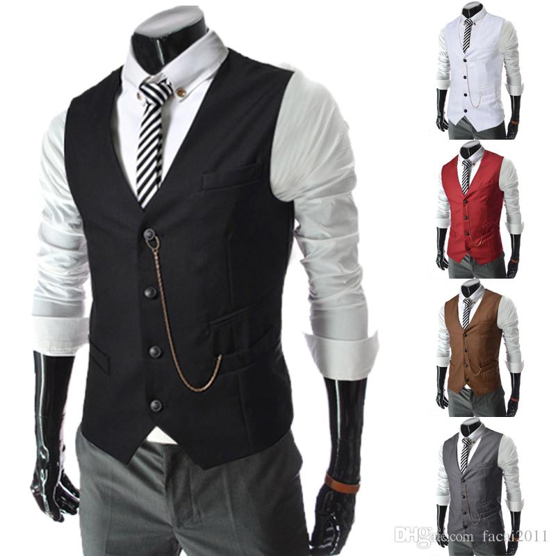 55e30d1dbb5f85 Hot 2017 Sale Mens V Neck Slim Fit Zipper Vests Suit Casual Formal Tuxedo  Dress Waistcoat Style Outerwear   Coats Canada 2019 From Facai2011