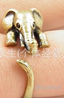 Anelli dell'animale dell'elefante le donne e le ragazze Anello aperto dei gioielli svegli Partito d'argento all'ingrosso del regalo di colore di Brown