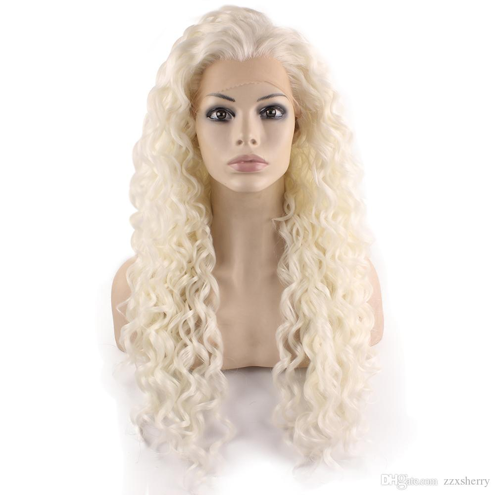 26inch Long Silver White Blonde Synthetic Lace Front Curly Wig