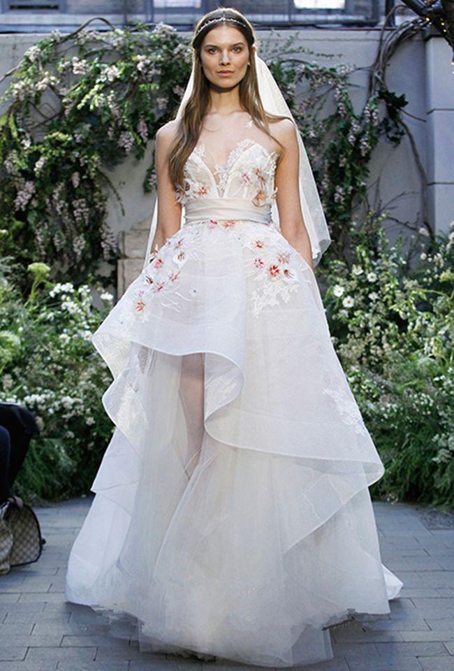 Высокая мода линия рукавов Свадебные платья Sheer шеи Аппликация свадебное платье просто белое свадебное платье Платье-де-Noiva