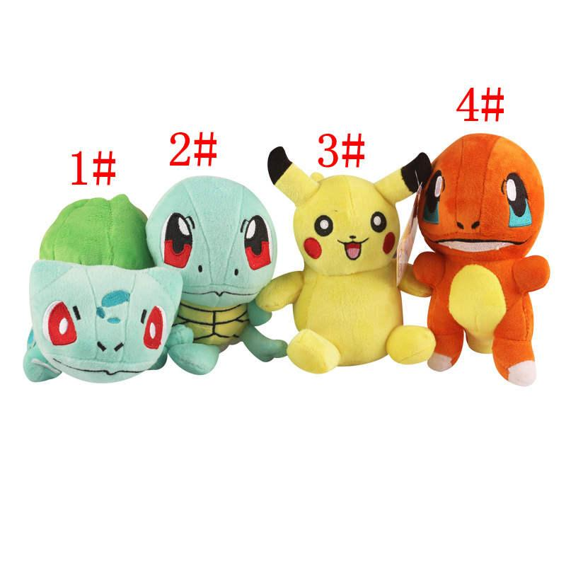 "Wholesale plush toys EMS 15cm(6"")Bulbasaur Pikachu Charmander Squirtle Poke plush toys cartoon poke Stuffed animals toys soft Christmas toys"