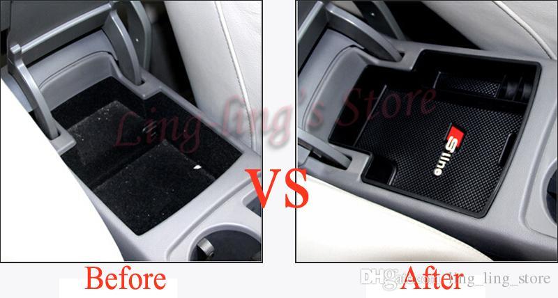 Caja de almacenamiento de alta calidad del interior de los apoyabrazos del coche con las piezas de recambio de la estera de Sline para Audi A4 B8 Nuevo A4L 09-15 A5 Car Styling