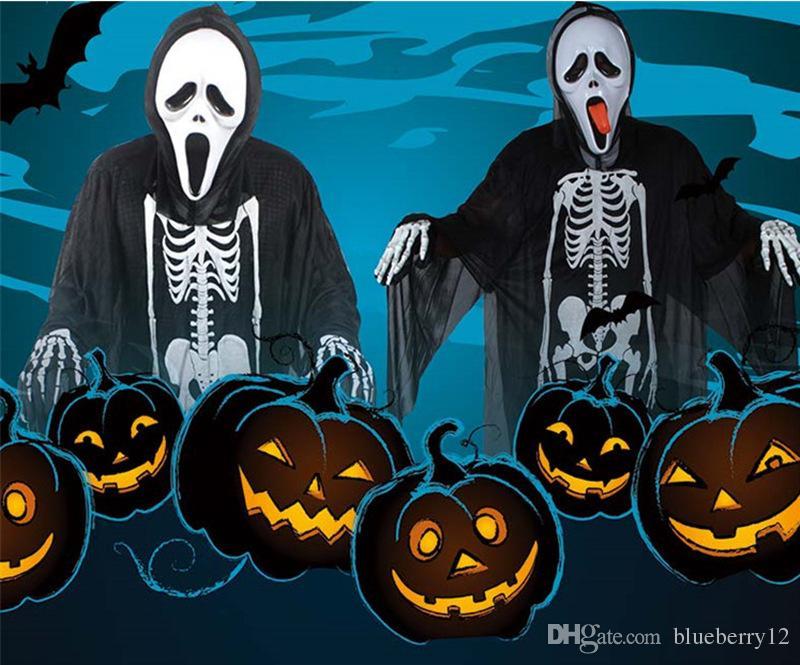 2017 neue Heiße Halloween Cosplay Skeleton Unisex Anzug Menschliches Skelett Muster Kostüm Halloween Scare Performance Kleidung Tragen Maske Anzug Erwachsene