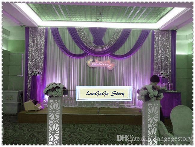 fondo de boda blanco / swags verdes y tela de lentejuelas dorada / fondo de seda de hielo / 3m * 6 m / otra desion puede personalizarse