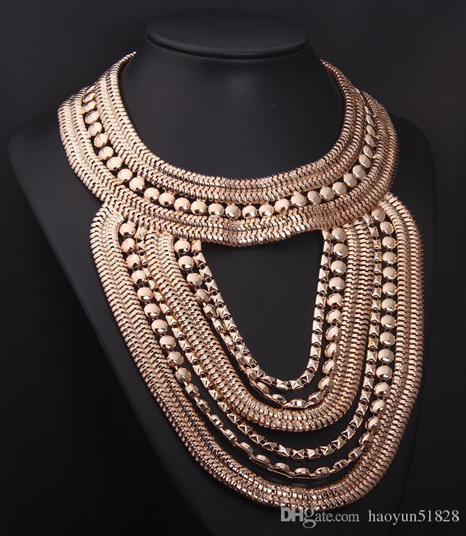 2016 New design women fashion maxi metal chunky multi golden silver chain choker Necklace fashion designer jewelry for women