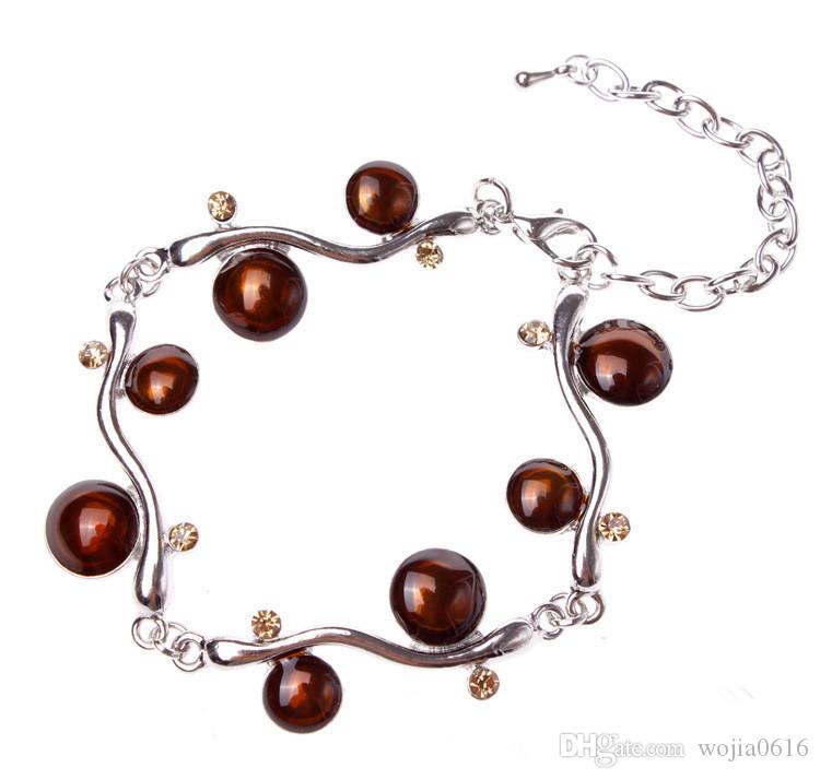 Gratis frakt Ny Fashion Top Quality Round Enamel Armband Alloy Vintage Chain Armband Mode Smycken Partihandel S114