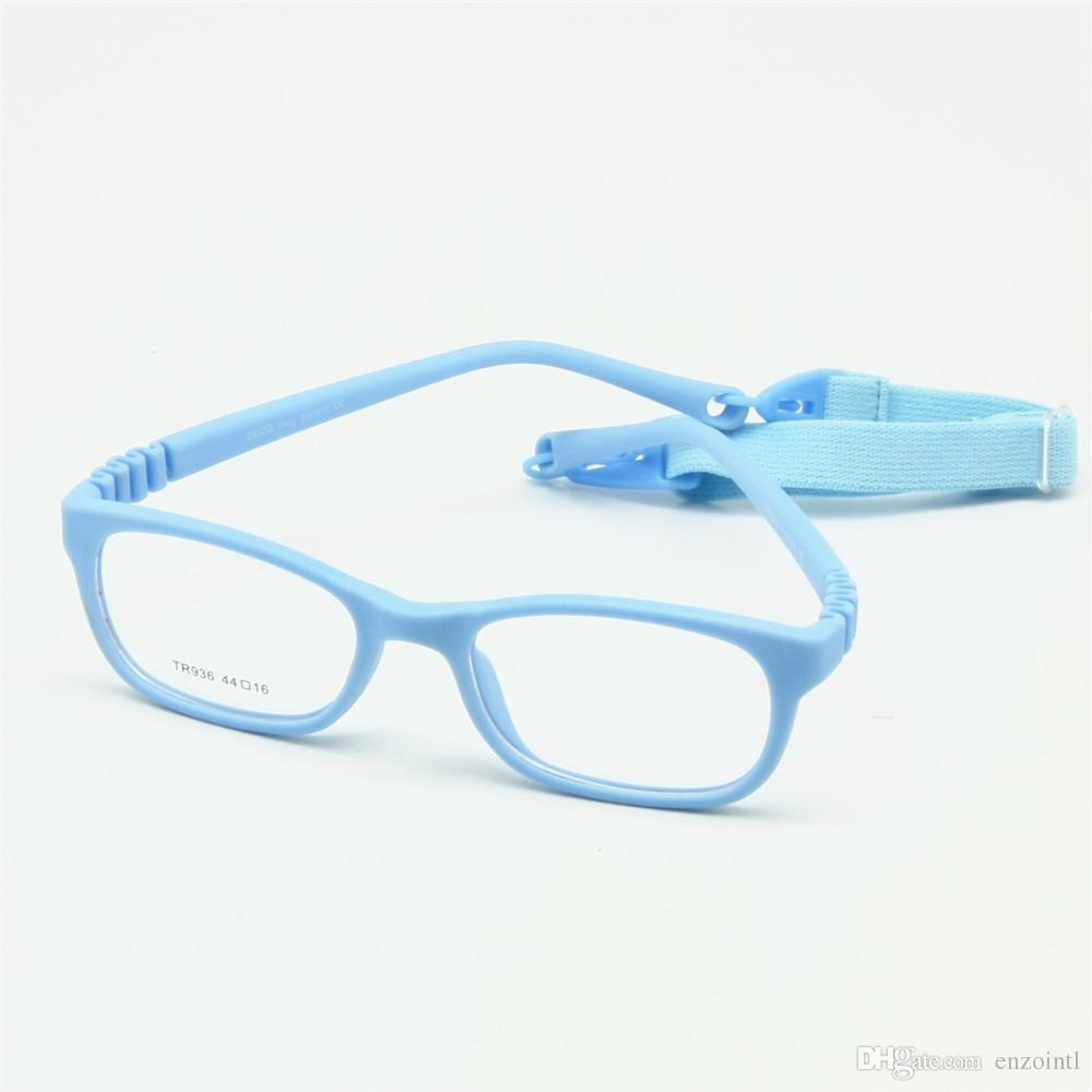 72fa79fb6949c Compre Crianças Flexíveis Óculos De Armação Tamanho 44 16 TR90 Crianças  Óculos